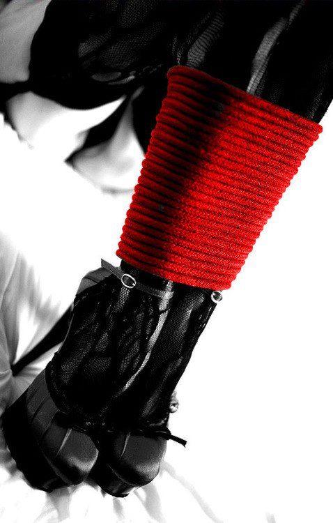 high heels stockings red rope