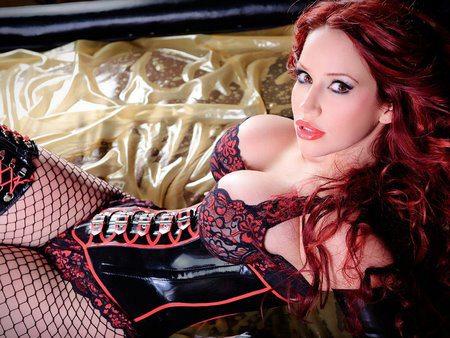 hot redhead corset