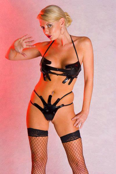 hot blonde in fishnets and latex bikini made of hands