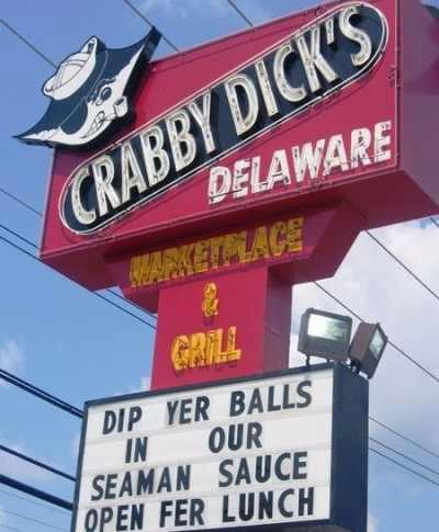 funny sign crabby dick's dip yer balls in our seaman sauce