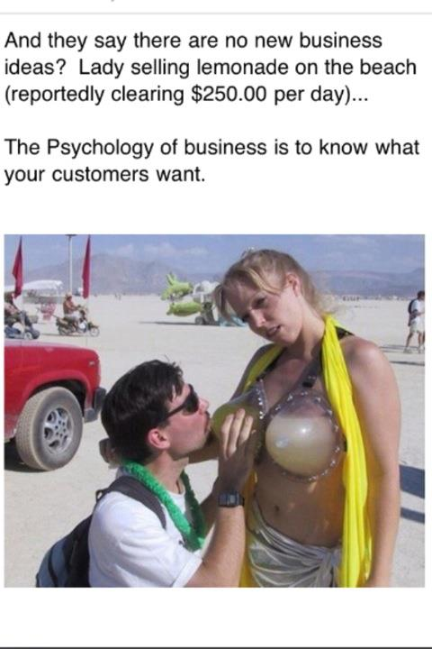 funny sex picture selling lemonade from fake breasts
