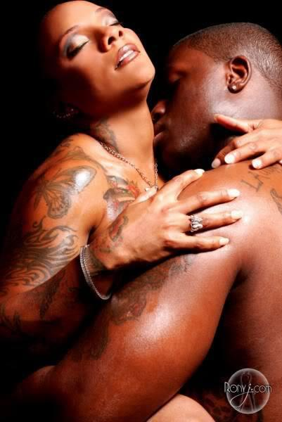 erotic black couple with tattoos